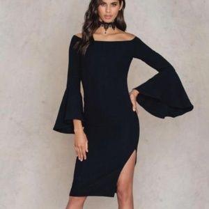 Bardot off shoulder Solange midi dress with slit